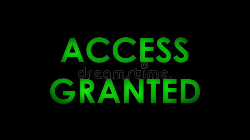 O acesso concedeu o texto de mensagem verde ilustração do vetor