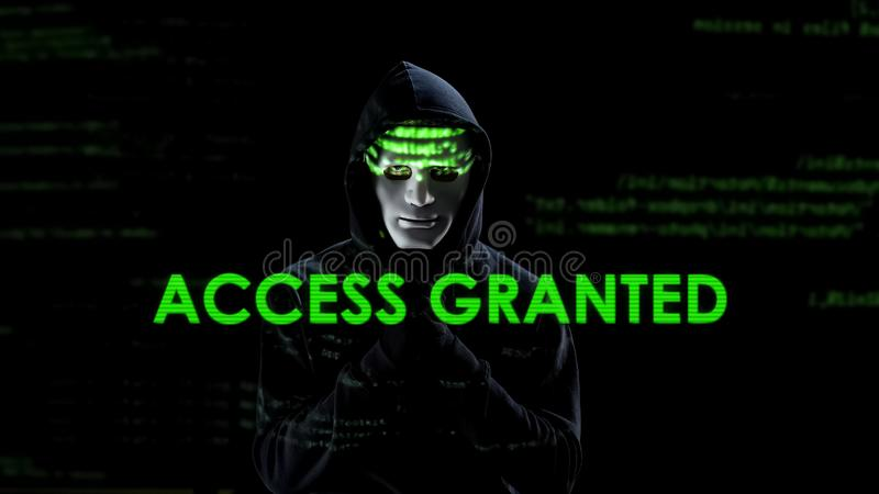 O acesso concedeu o texto na tela, vírus de carregamento do hacker, copiando a informação secreta fotos de stock royalty free