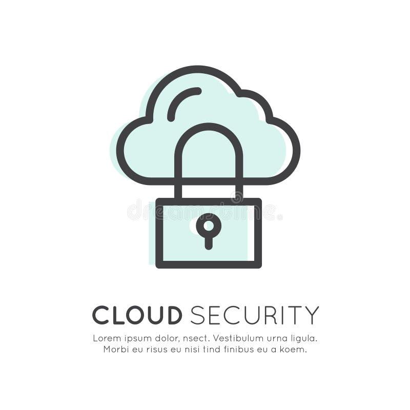 O acolhimento, a gestão da nuvem, segurança de dados, armazenamento do servidor, Api, memória do móbil e do Desktop, isolaram o í ilustração stock