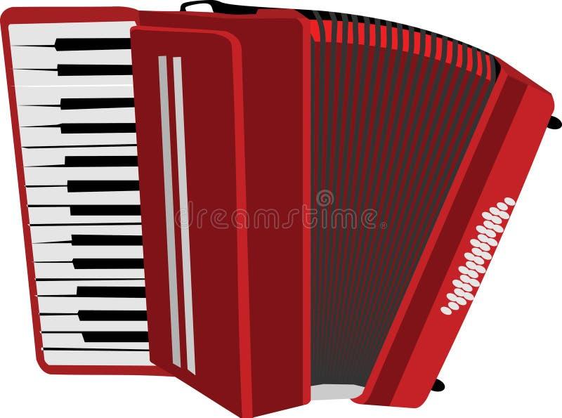 O acordeão vermelho ilustração do vetor