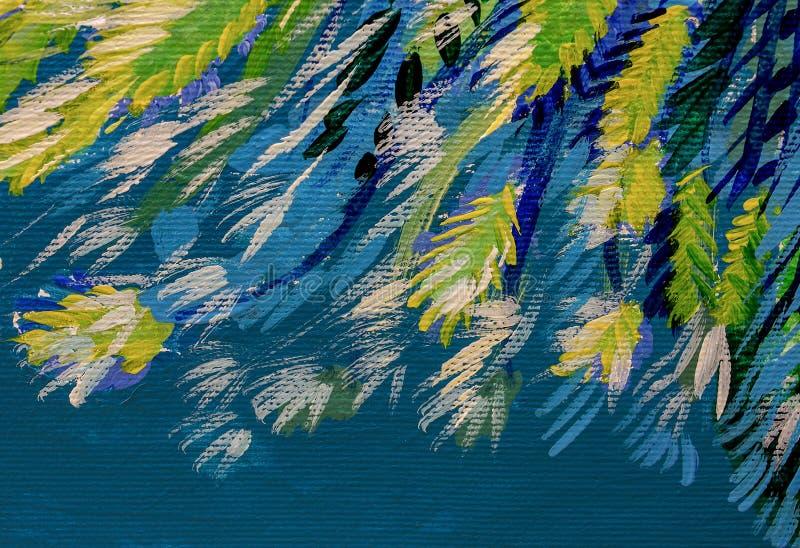 O acrílico do óleo das texturas do sumário da pintura da arte pinta o papel de parede ilustração do vetor