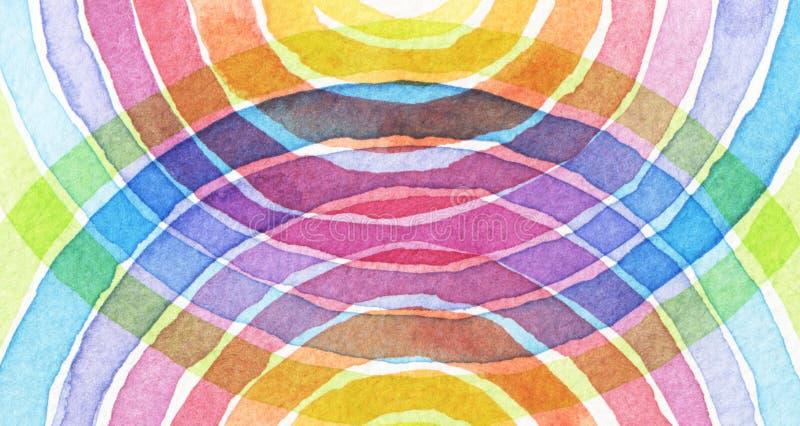O acrílico do arco-íris e o círculo abstratos da aquarela pintaram o backgroun imagem de stock