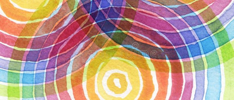 O acrílico do arco-íris e o círculo abstratos da aquarela pintaram o backgroun imagens de stock