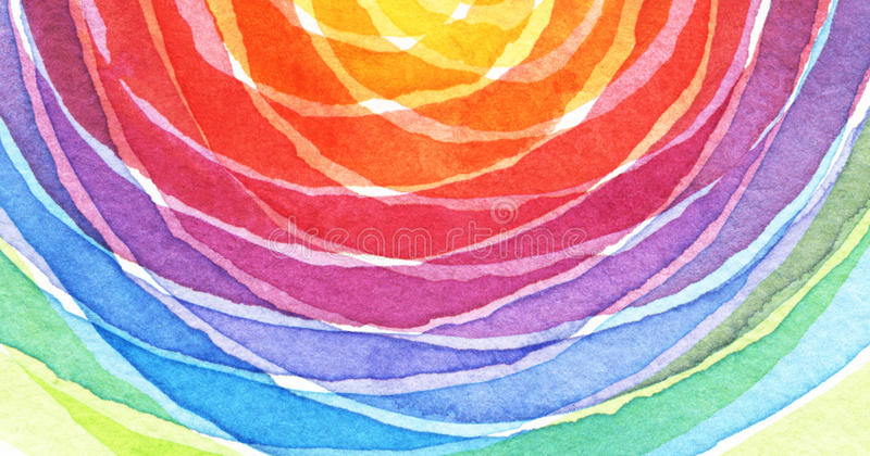O acrílico do arco-íris e o círculo abstratos da aquarela pintaram o backgroun foto de stock