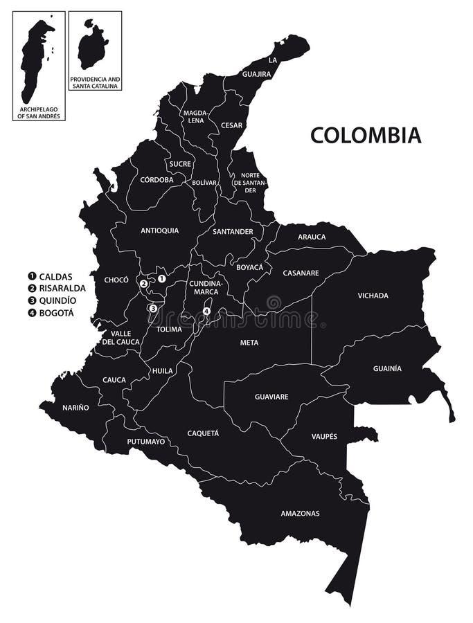 O administrativ de Colômbia e o vetor político traçam no preto e no whi ilustração do vetor