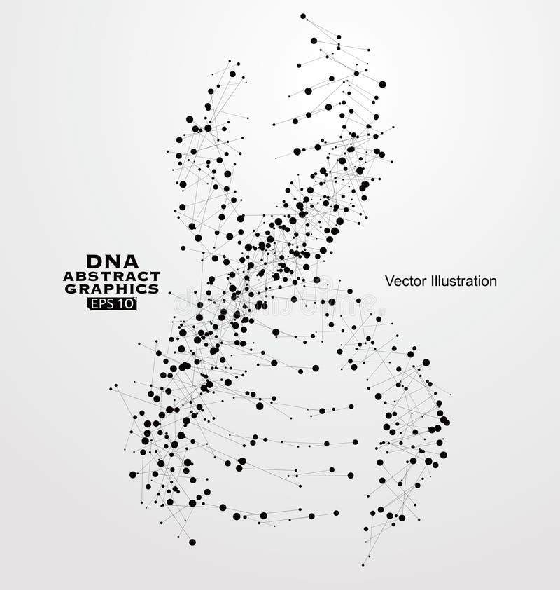 O ADN abstrai gráficos, consistindo em pontos e em linhas ilustração stock