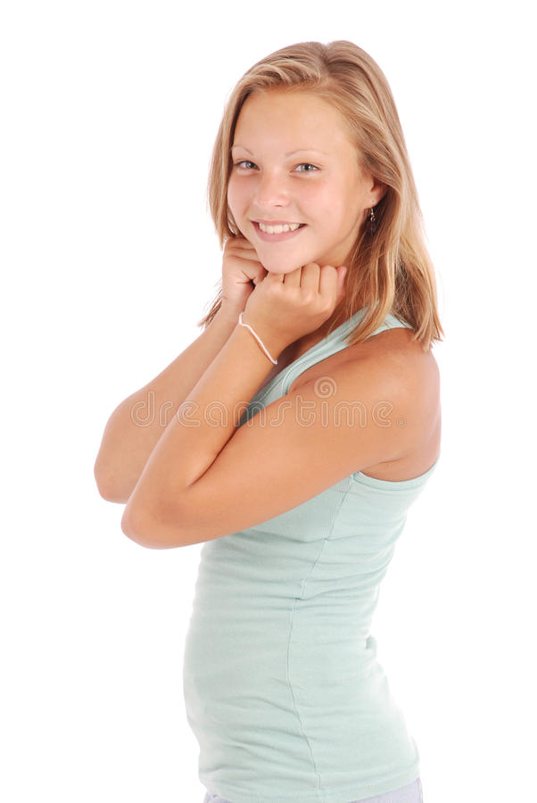 O adolescente bonito mostrou-se nas fotos em toda sua glória fotografia de stock