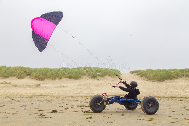 O adolescente conduz o carrinho com o papagaio na praia imagens de stock royalty free