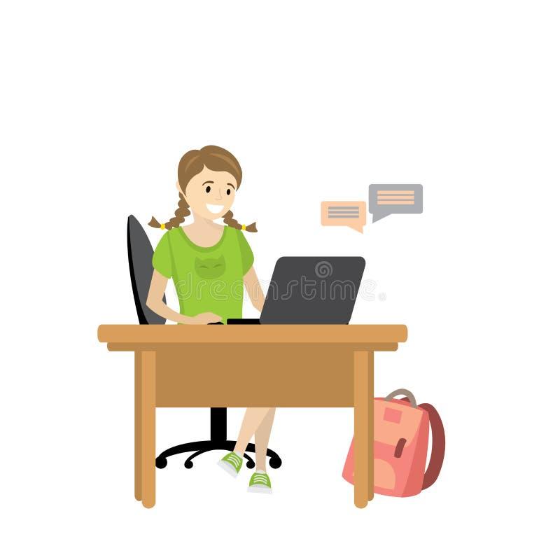 O adolescente da menina da beleza comunica-se com um portátil ilustração do vetor