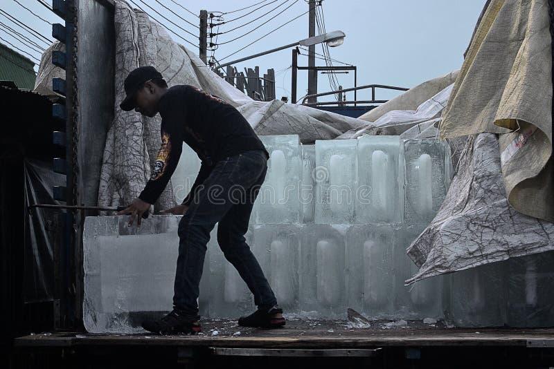 O adolescente não identificado entrega o gelo fotos de stock