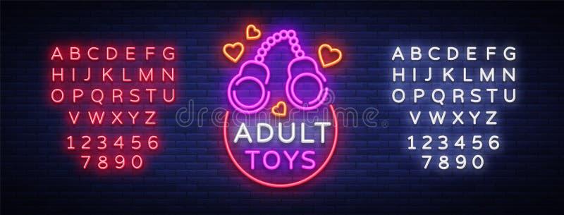 O adulto brinca o logotipo no estilo de néon Projete o molde, sinais de néon da loja do sexo, bandeira clara no tema da indústria ilustração do vetor