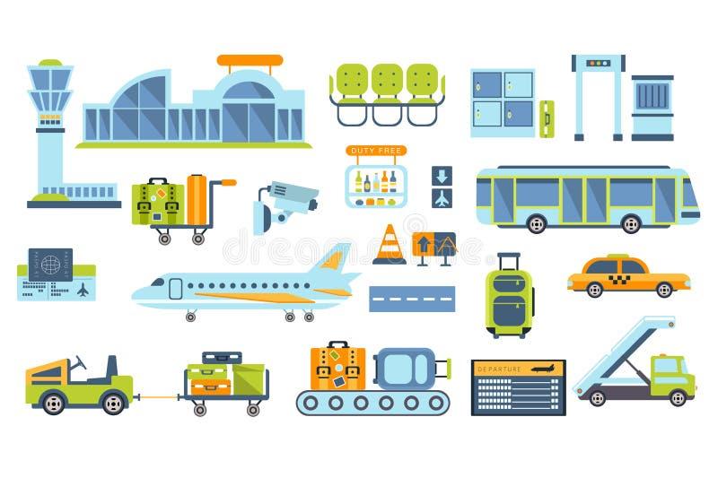 O aeroporto relacionou os objetos ajustados ilustração do vetor