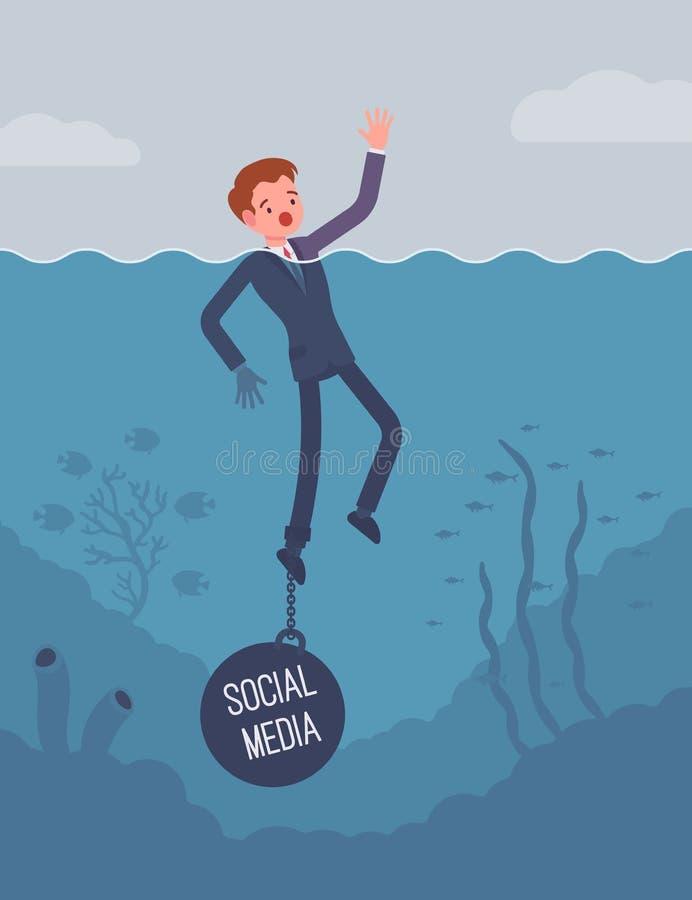 O afogamento do homem de negócios acorrentou com um meio social do peso ilustração stock