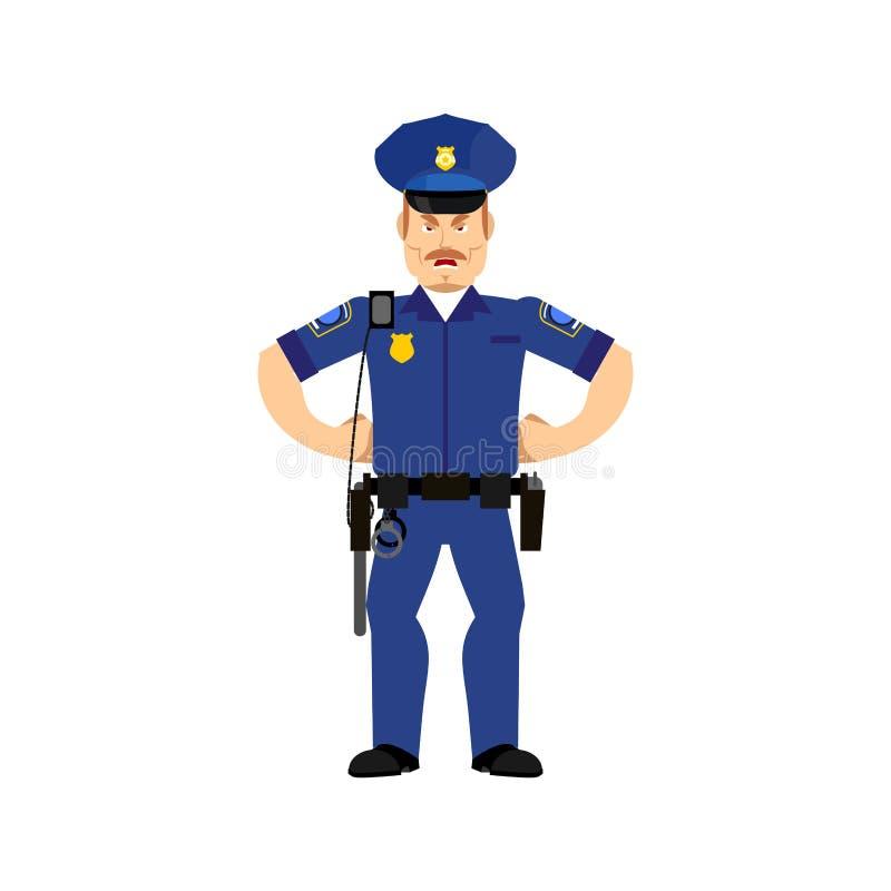 O agente da polícia Emoji irritado isolou-se Emotio agressivo do polícia ilustração do vetor
