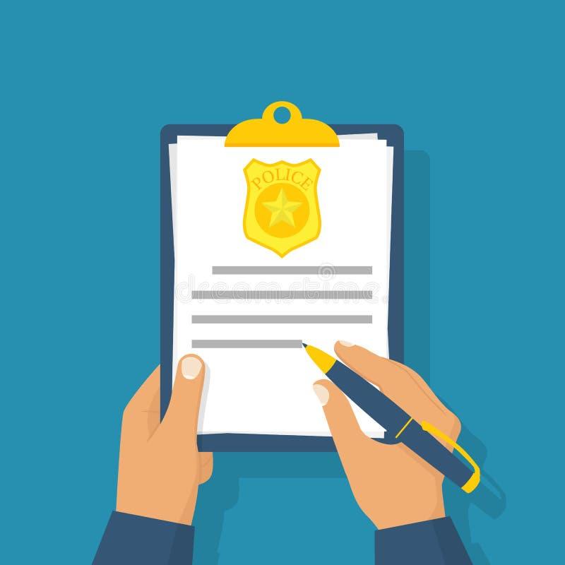 O agente da polícia escreve o relatório ilustração do vetor