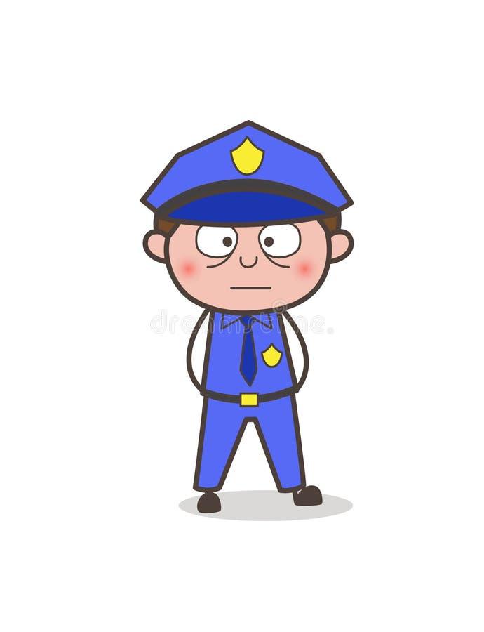 O agente de segurança dos desenhos animados nivelou a cara ilustração royalty free