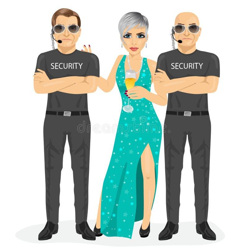 O agente de segurança profissional que está com braços dobrou a mulher famosa de proteção com um vidro do champanhe ilustração do vetor