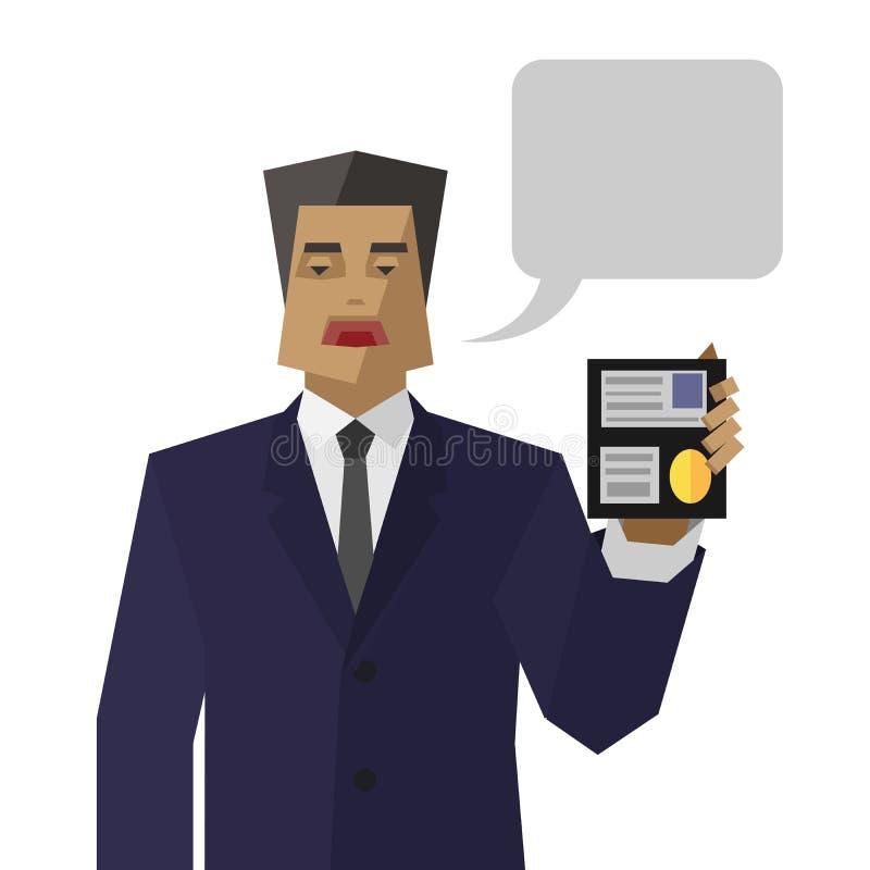O agente simples dos serviços especiais mostra a identidade ilustração do vetor