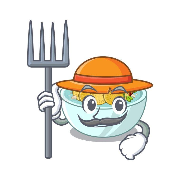 O agricultor ratatouille é cozido em mascote pan ilustração stock