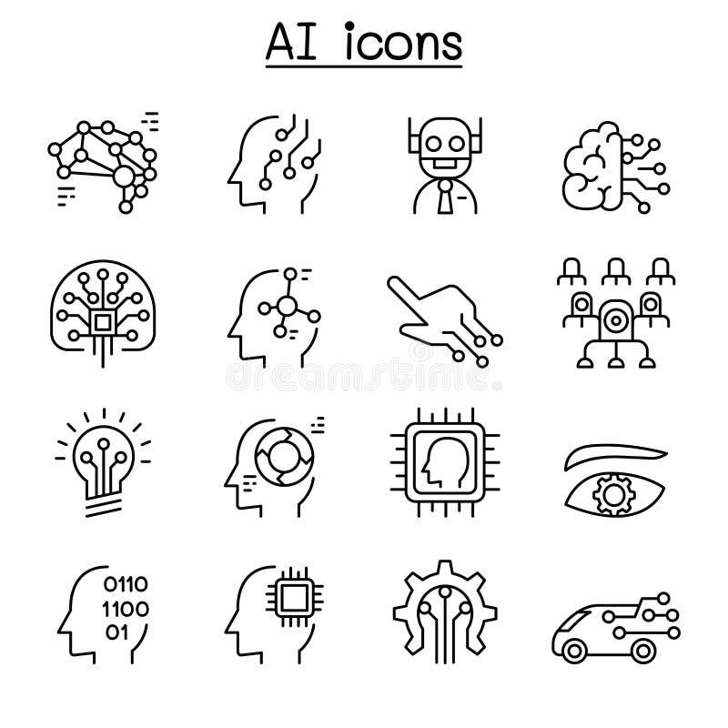 O AI, ícone da inteligência artificial ajustou-se na linha estilo fina ilustração stock