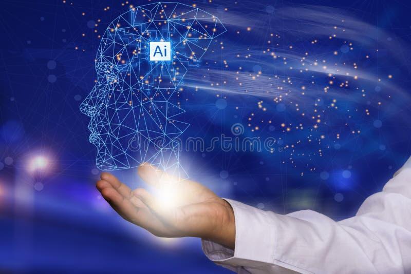 O AI ou a inteligência artificial estão no futuro nas mãos da humanidade, segundo o usuário e os peritos que se usa para se usar imagem de stock royalty free