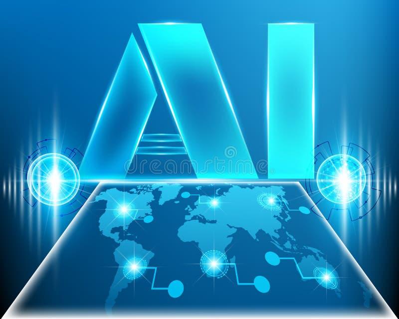 O AI rotula a inteligência artificial de Digitas com cyber l do mapa do mundo ilustração stock