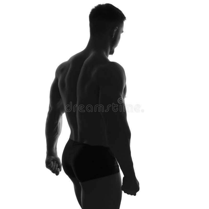 O ajuste 'sexy' muscled pares no sportswear no fundo cinzento neutro foto de stock