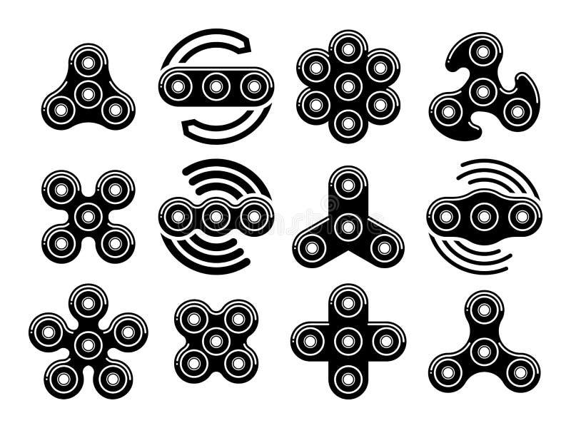 O alívio de tensão do girador da inquietação brinca ícones do vetor ilustração stock