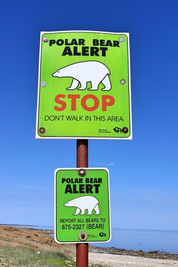 O alerta do urso polar assina dentro Churchill, Manitoba fotografia de stock royalty free