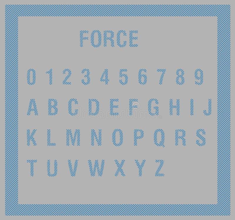 O alfabeto azul rotula o ABC e os números em listras diagonais para forçar o estilo no fundo cinzento ilustração stock