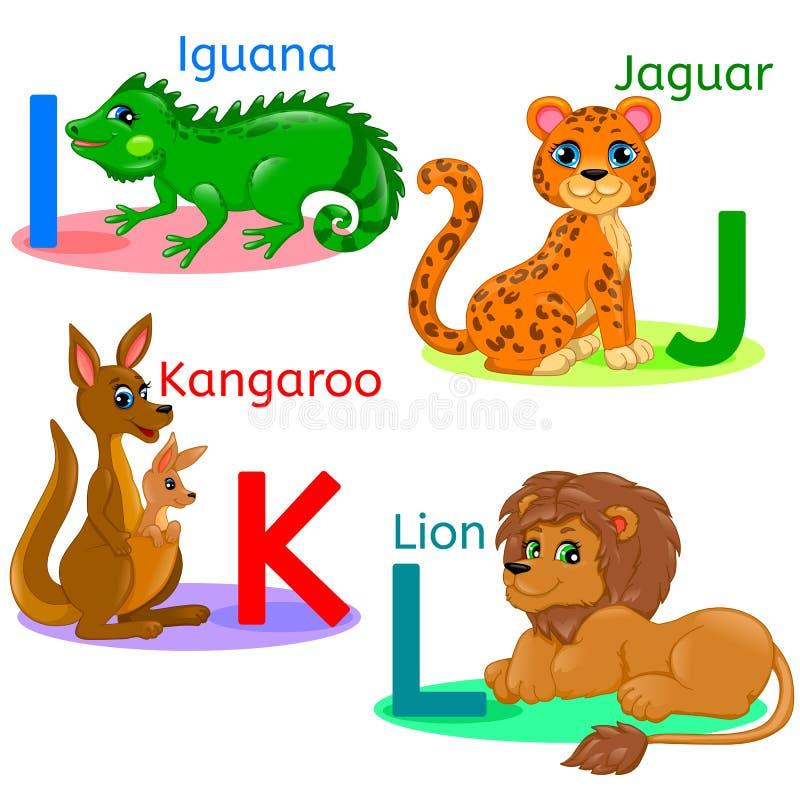 O alfabeto caçoa os animais IJKL ilustração do vetor