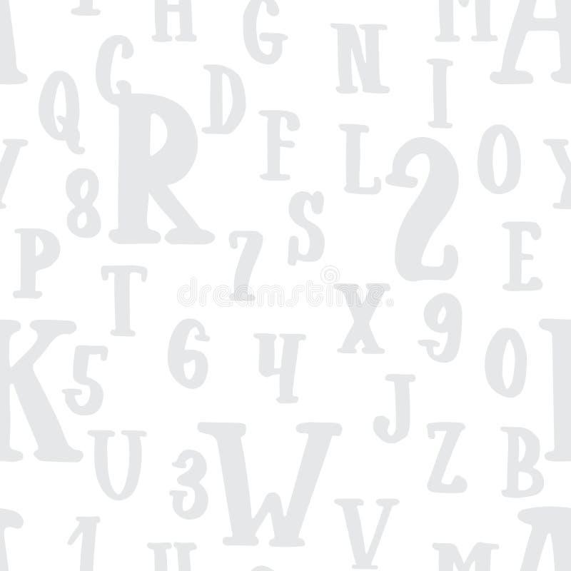 O alfabeto cinzento tirado mão rotula o teste padrão sem emenda Textura e fundo do esboço da tinta ilustração royalty free