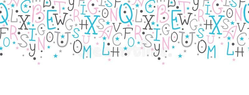 O alfabeto colorido rotula a beira horizontal ilustração royalty free