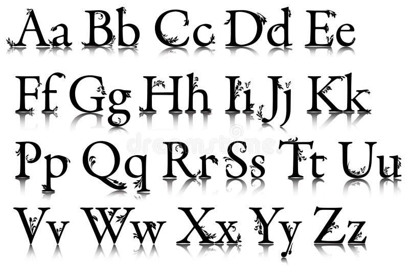O alfabeto com testes padrões ilustração stock