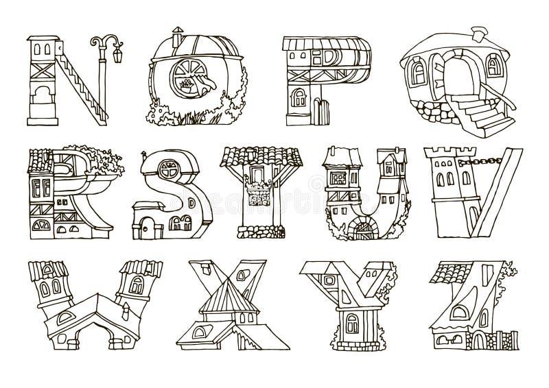 O alfabeto da língua inglesa, letras nas casas dá forma FO tiradas mão ilustração royalty free