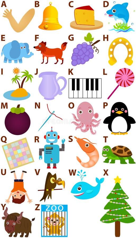 O alfabeto do vetor ajustou-se: A a Z ilustração stock