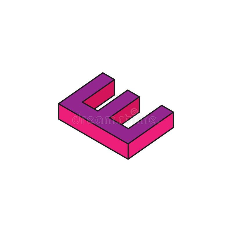 o alfabeto E, 3D coloriu o ícone isométrico Elemento das palavras 3d e do ícone dos símbolos para apps móveis do conceito e da We ilustração do vetor