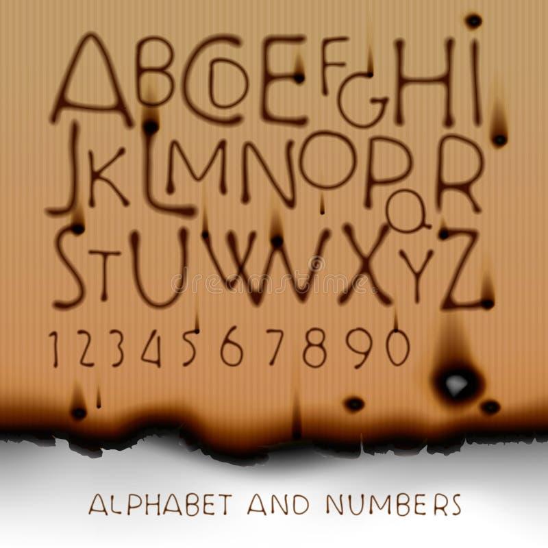 O alfabeto e os números do vintage queimam sobre o papel ilustração royalty free