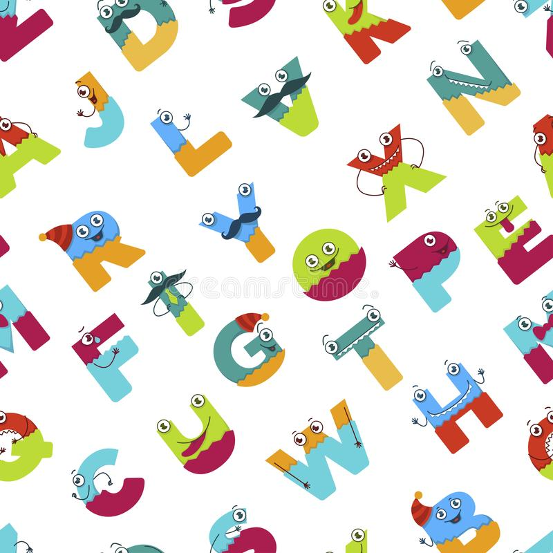 O alfabeto engraçado dos personagens de banda desenhada para crianças projeta o teste padrão sem emenda ilustração stock