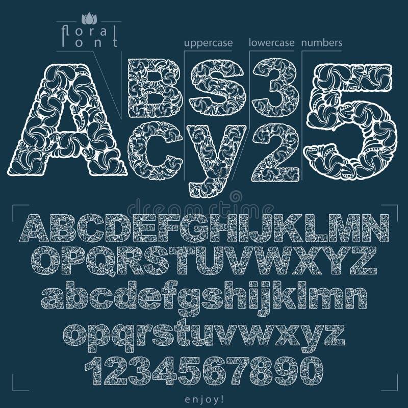 O alfabeto floral Sans Serif rotula e numera tirado usando o resumo ilustração stock