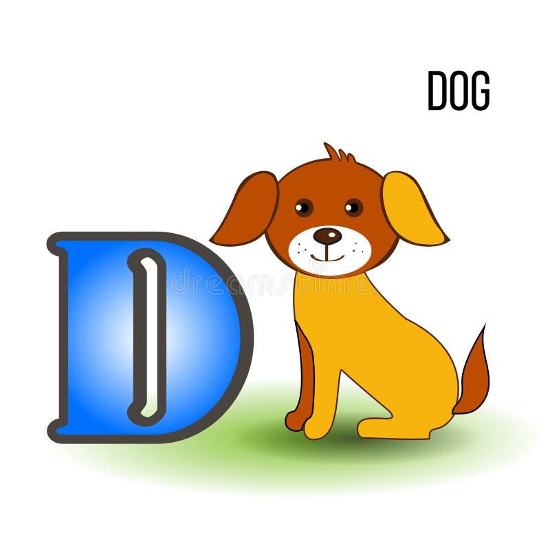 O alfabeto inglês D do jardim zoológico bonito com cão dos desenhos animados, vector a criança animal da ilustração colorida isol ilustração stock