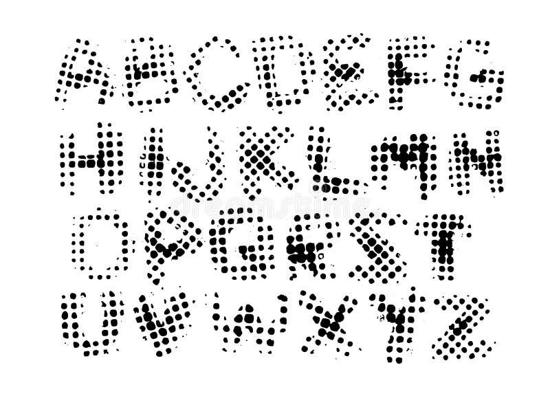 O alfabeto, letras no estilo do grunge, a tinta de intervalo mínimo imprime no fundo branco ilustração stock