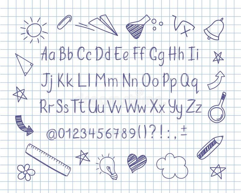 O alfabeto no estilo esboçado com escola rabisca na folha do caderno Vector letras do lápis, números e marcas de pontuação escrit ilustração royalty free