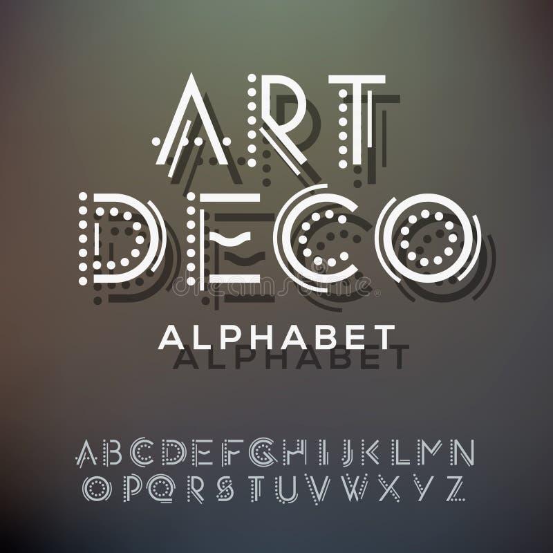 O alfabeto rotula a coleção, estilo do art deco ilustração stock