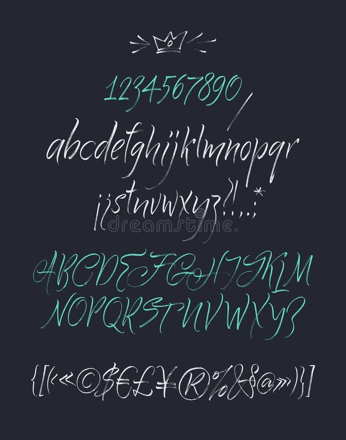 O alfabeto rotula o lowercase, o uppercase e os números ilustração stock