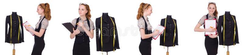 O alfaiate da mulher isolado no branco imagem de stock