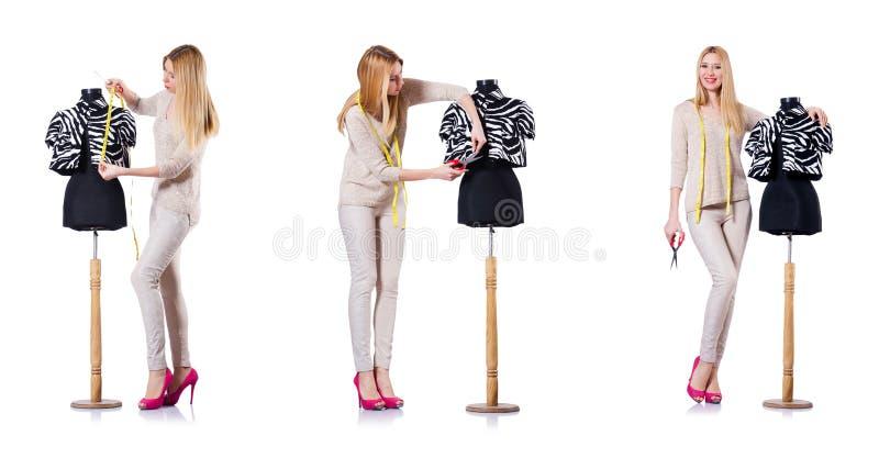 O alfaiate da mulher isolado no branco imagem de stock royalty free