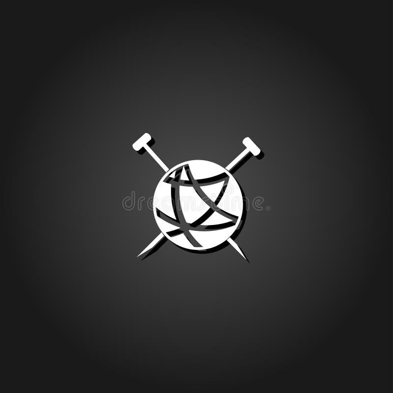 O alfaiate embaraça a bola do fio para o plano de confecção de malhas do ícone ilustração royalty free