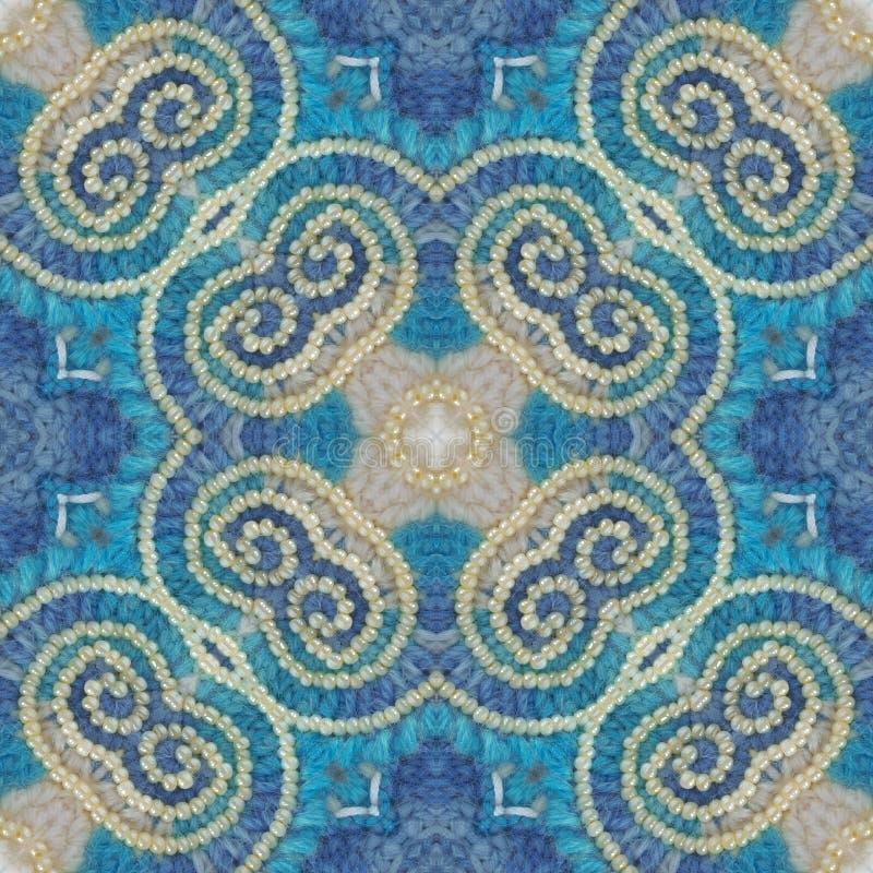 O algodão brilhante faz crochê o fundo, contexto para o álbum de recortes, vista superior Colagem com reflexão de espelho Montage ilustração stock