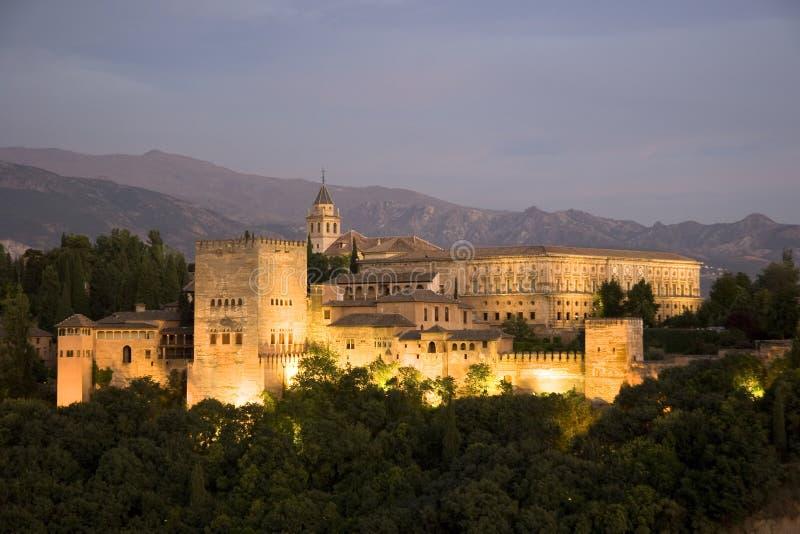 O Alhambra no crepúsculo imagem de stock royalty free